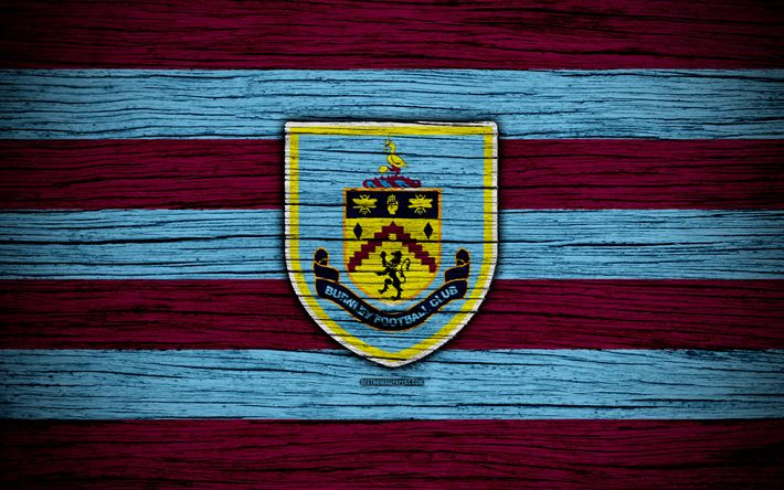 Download wallpapers Burnley, 4k, Premier League, logo, England, wooden texture, FC Burnley, soccer, football, Burnley FC