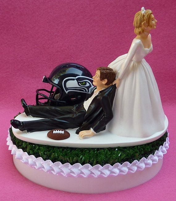 Wedding Cake Topper Seattle Seahawks Football Themed by WedSet, $59.99