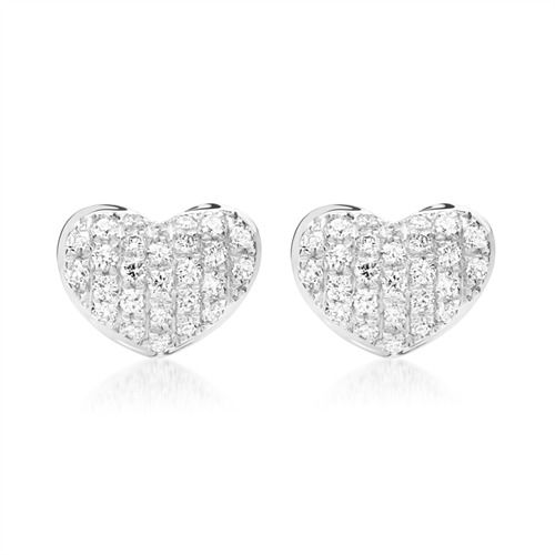 Ohrringe aus 750er Weißgold mit 52 Diamanten 0,20 ct. https://www.thejewellershop.com/ #weißgold #ohrringe #earrings #herz #heart #diamonds #jewelry #schmuck #diamanten
