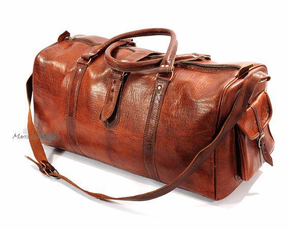 Sac polochon  bagages cuir marocain brun clair par MarrakeshStyle