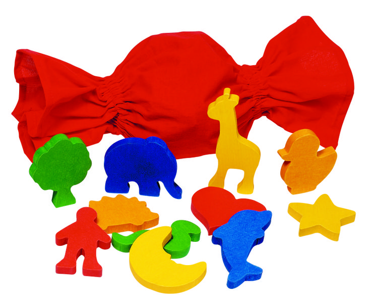 Natural and high quality toys to the development of the skills of children. Shapes in a cotton bag