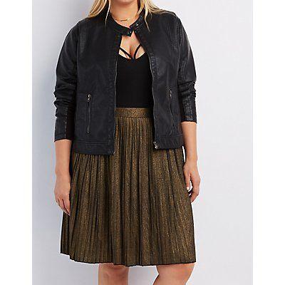 Plus Size Black Faux Leather Moto Jacket - Size 2X