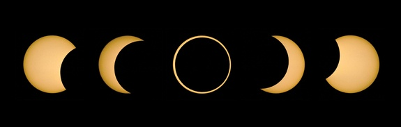 Solar Eclipse, May 10, 1994 - Credit: Fred Espenak/SkyandTelescope.com As the solar eclipse on May 20, 2012, progresses, its partial and annular phases will look very similar to this eclipse on May 10, 1994