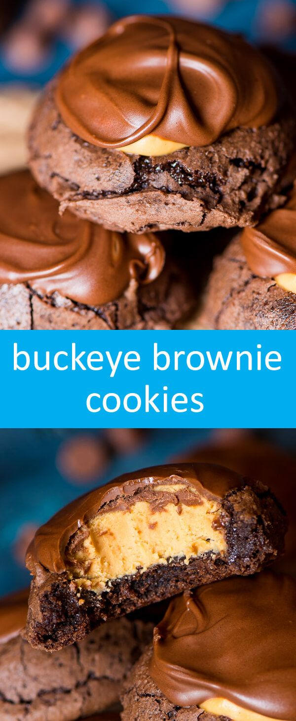Buckeye Brownie Cookies combine the best of both worlds. If you love buckeyes, you'll love this easy cookie recipe that starts with a box brownie mix. via @tastesoflizzyt