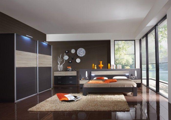 Madrid - Komplet velký 2, postel 180 cm (lava černá/dub) | Jena nábytek