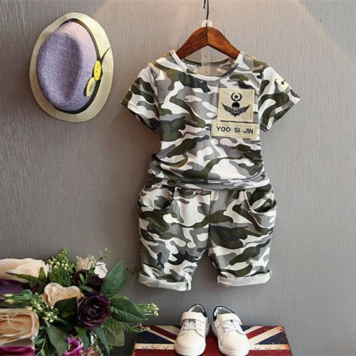 Malayu Baby children summer baby boys shirt 2pcs camouflage