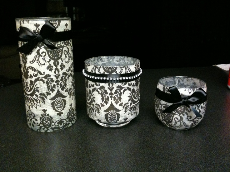 5 Dollar Candle Holders Made From Dollar Store Glass Vases And Mod Podge Tissue Paper My