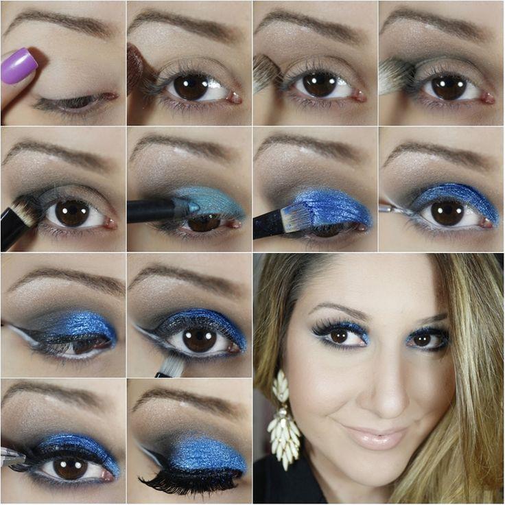 passo a passo maquiagem azul com traçado duplo para a noite - tudo make completo