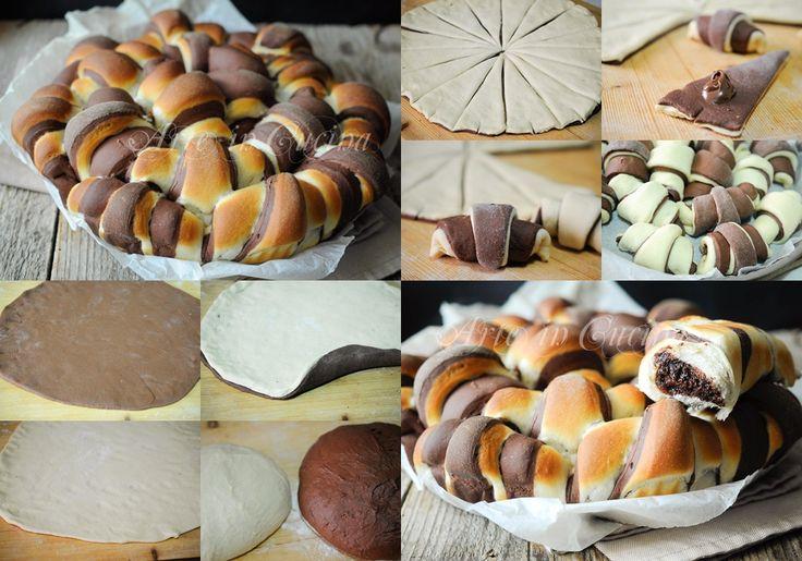 Danubio di cornetti bicolore alla ricotta soffici vickyart arte in cucina