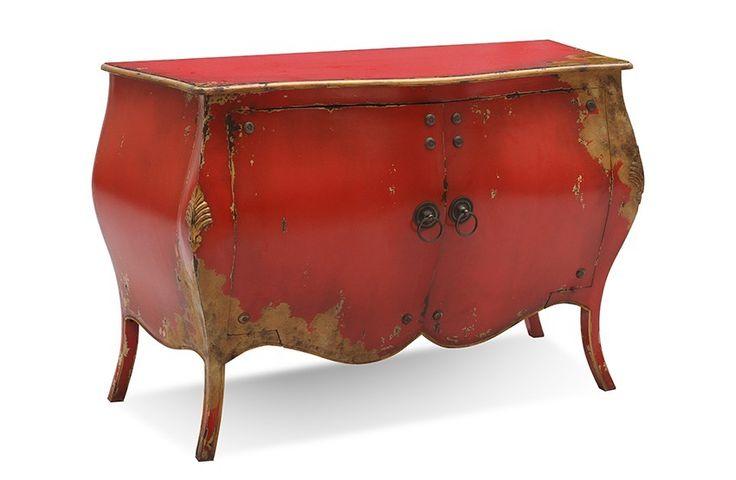#Kommode #Rococo - Mahagoni massiv - rot lackiert - antikfinish