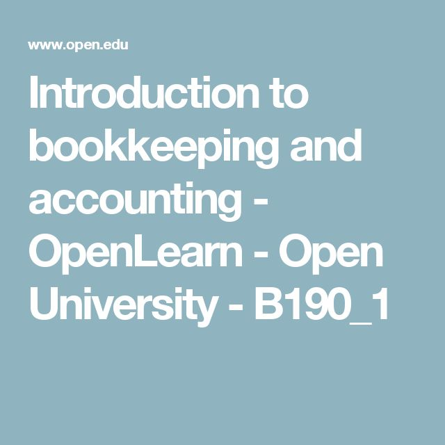 Introduction to bookkeeping and accounting - OpenLearn - Open University - B190_1