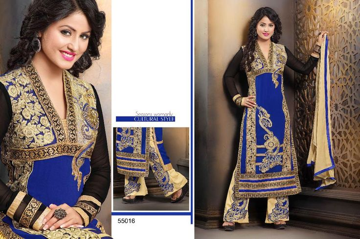 Heena Khan Georgette Party Wear Palazzo Suit with American Bottom and Nazneen Dupatta included Embroidery work (Catalog - heenakhan-vol3-cat246)