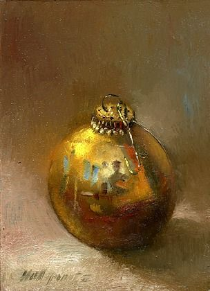 Gold Christmas Ornament by Hall Groat II, American artist.