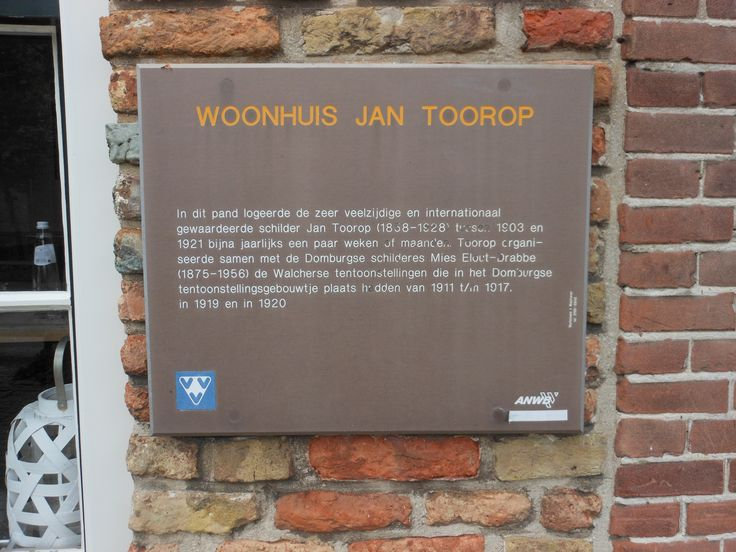 Plaque on the wall of Jan Toorop's former house in Domburg, Zeeland.