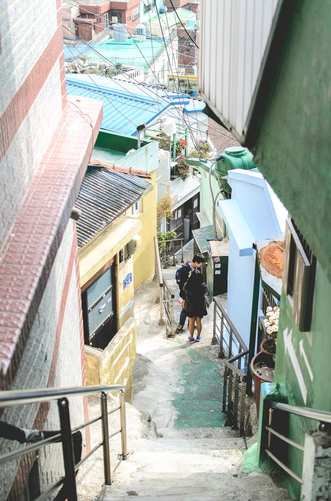 An alley of Gamcheon Culture Village, Busan, South Korea. Travel South Korea. Things to do in Korea