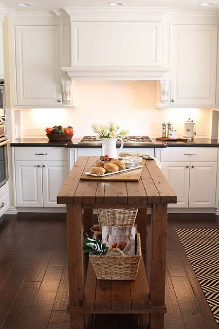 White Kitchen Cabinets W/Dark Hardwood Floors & White Subway Tile. Small Island for smaller space.