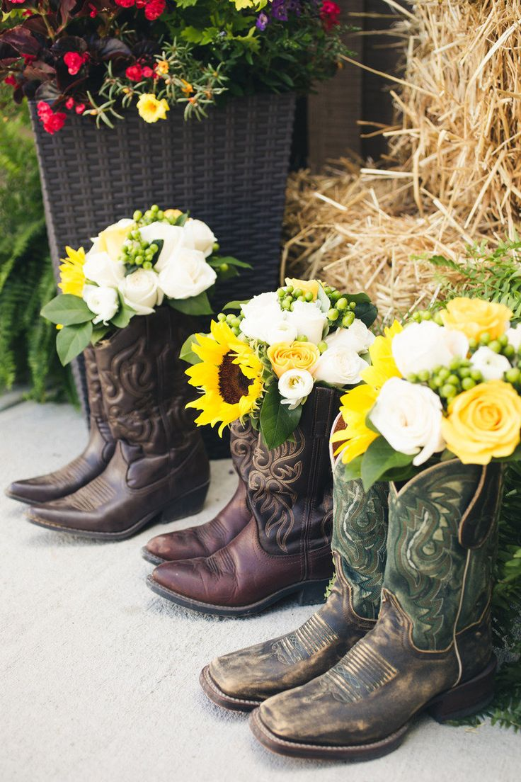 If the bridesmaids can't agree on boots to wear, we could decorate like this.