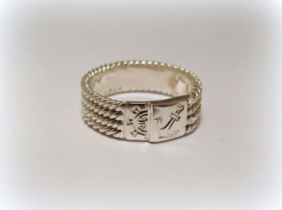 Silver seamen wickered ring with anchor and  by Minicsiga on Etsy