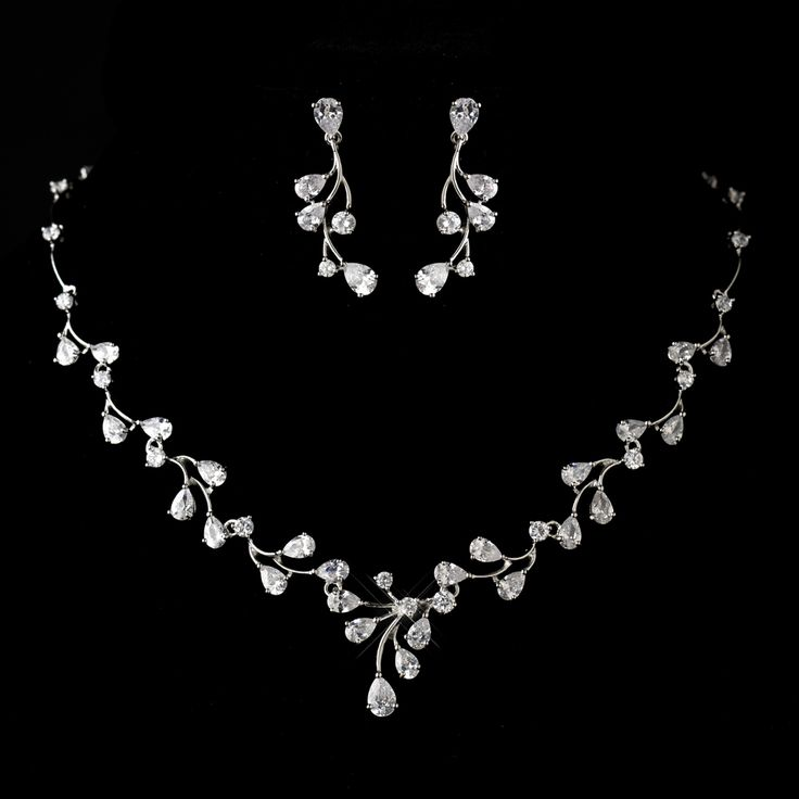 Stress Away Bridal Jewelry Boutique –Antique Silver Rhodium Clear CZ Crystal Wedding Jewelry Set