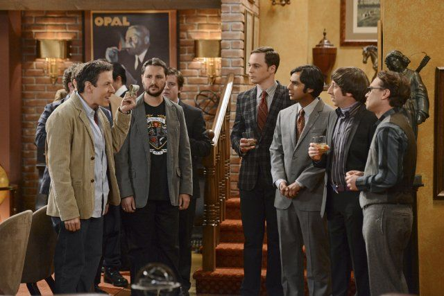 Still of Wil Wheaton, John Ross Bowie, Johnny Galecki, Simon Helberg, Jim Parsons and Kunal Nayyar in The Big Bang Theory