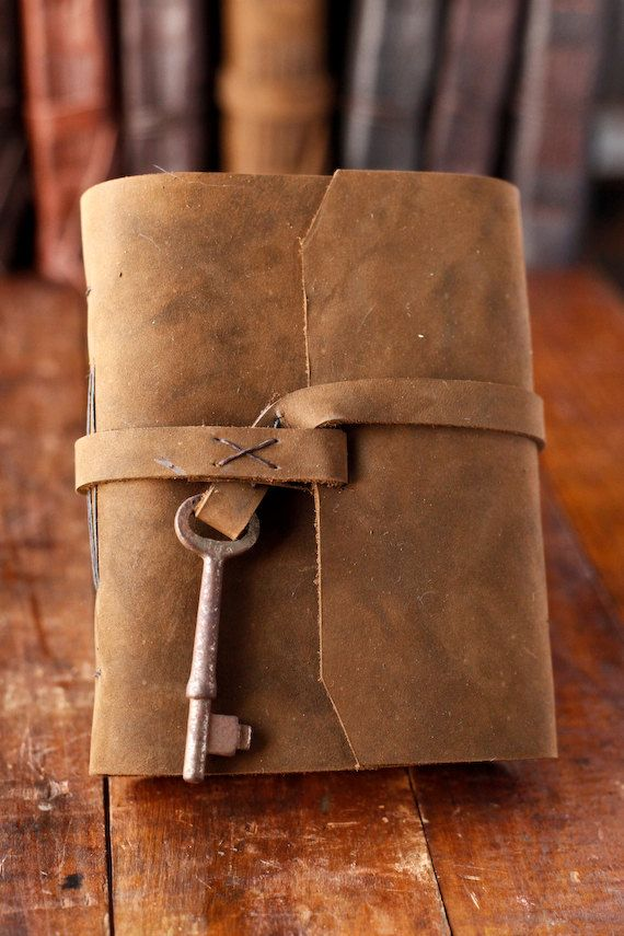 Leather Journal Rustic Travel Journal with by wayfaringart