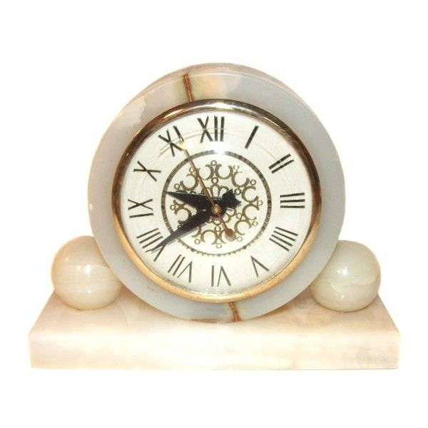 Art Deco Alabaster Shelf Clock With Circular Forms (38 CAD) ❤ liked on Polyvore featuring home, home decor, clocks and cream clock