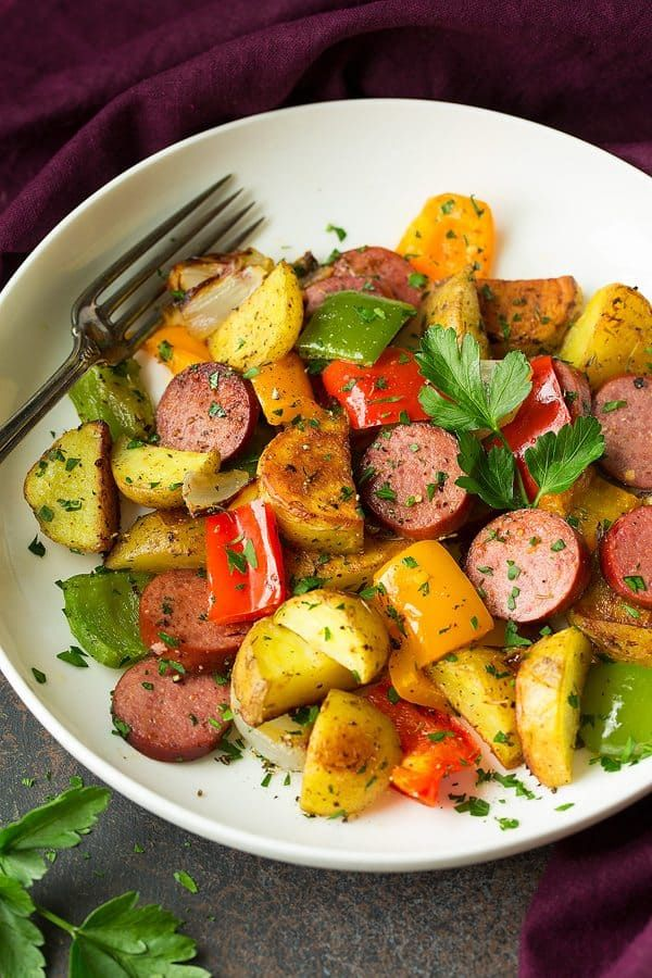 Sheet Pan Turkey Sausage Potato and Pepper Hash   Cooking Classy