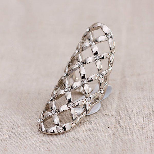 $3.81 Exquisite Rhinestone Embellished Geometry Pattern Openwork Ring For Women - Silver - One-size