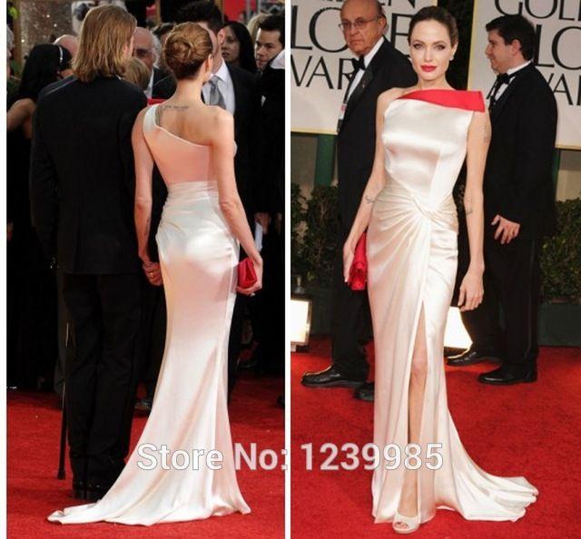 Анджелина Джоли Атласное платье