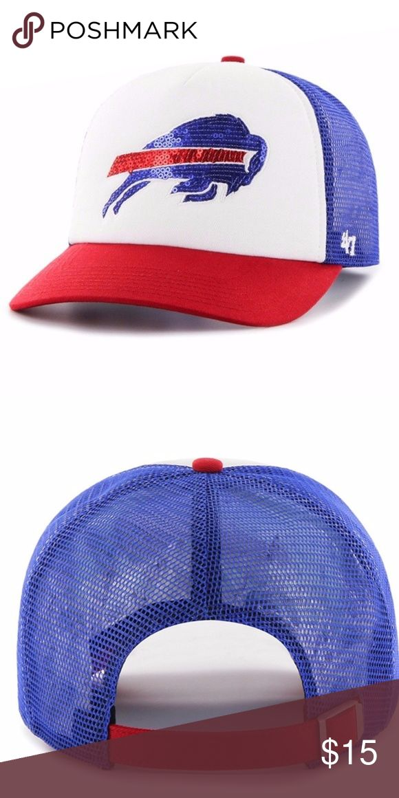 Buffalo Bills Women's Glimmer Captain CF Hat Brand New Officially Licensed with tags. This women's '47 Captain hat is sure to impress with bold sequined logo, color contrast Red bill and blue mesh back. The contrasting red adjustable strap ensures a perfect fit. 889313739827 TX 47 Accessories Hats