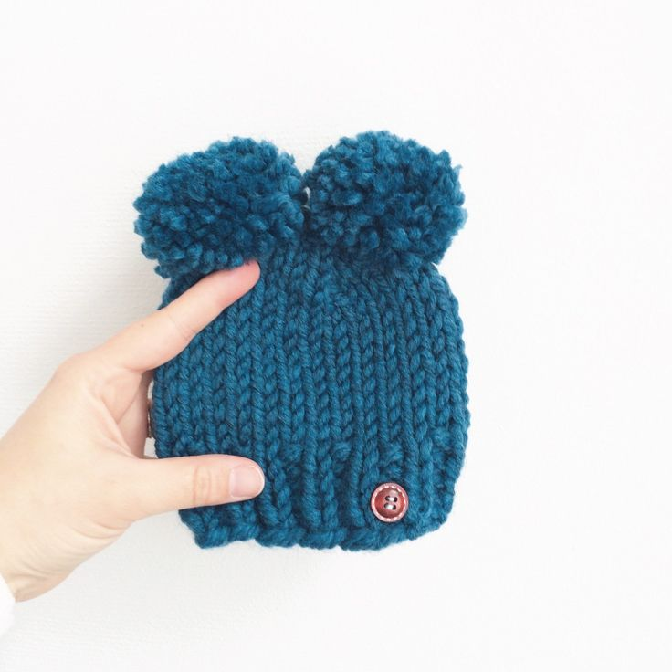 Double Pompom Mickey Mouse Baby Hat in Petrol