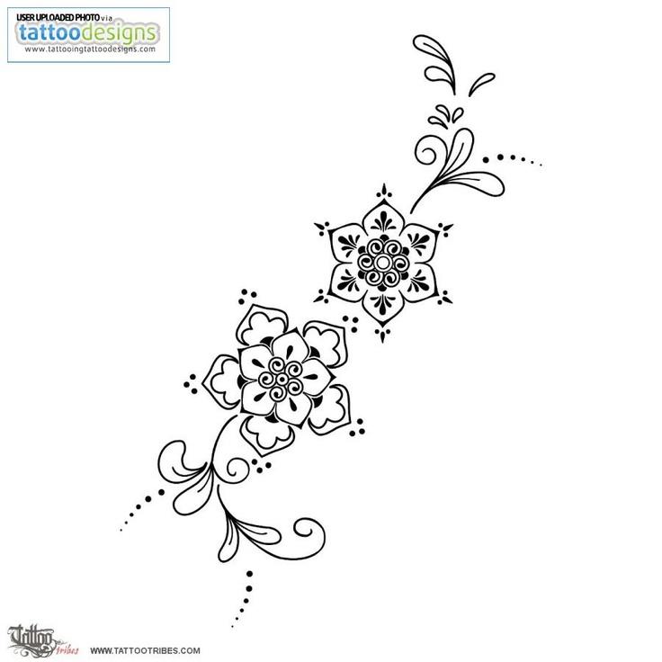 Mehndi Like Flowers Tattoo