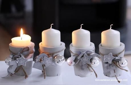 "DIY: ""Adventskranz"" mal anders (& Blogparade) Sádra, beton, hlína"