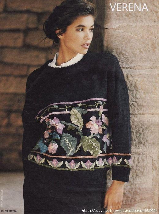 Жаккардовый пуловер с цветами. Обсуждение на LiveInternet - Российский Сервис Онлайн-Дневников