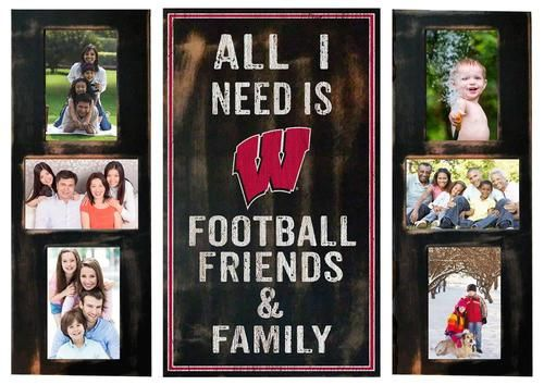 Wisconsin Badgers All I Need is Football, Friends & Family Picture Frame Set. This is the perfect way to show your love for your favorite sport and your favorite people. Share those game day memories