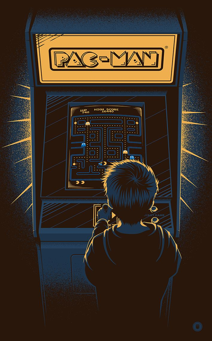 """Coin-op Dreams"" Official artwork created for Bandai's 35th Anniversary of Pac-Man.Canvas prints available from the official Bandai store:https://shop.spreadshirt.co.uk/bandai-uk/-A104726398"