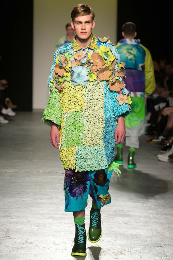 RACHEL JAMES - GRANNY FLOWER MAN POWER  Crocheted dyed rubber jumper with textural flowers and embroidered floral shorts
