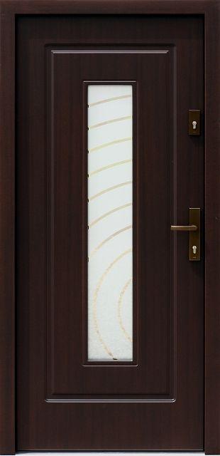 Drewniane wejściowe drzwi zewnętrzne do domu z katalogu modeli klasycznych wzór 572s2+ds1