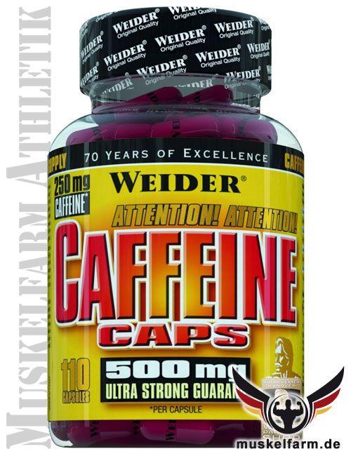 Weider Caffeine Caps mit hohem Koffeingehalt aus synthetischem und pflanzlichem Koffein, mit Guarana für eine längere und gleichmäßigere Wirkung.