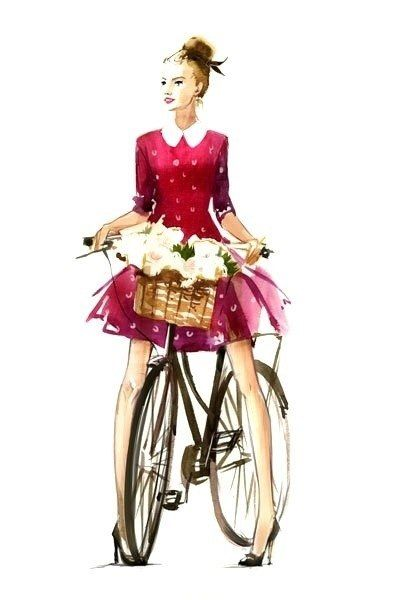 girl on bicycle with basket of flowers