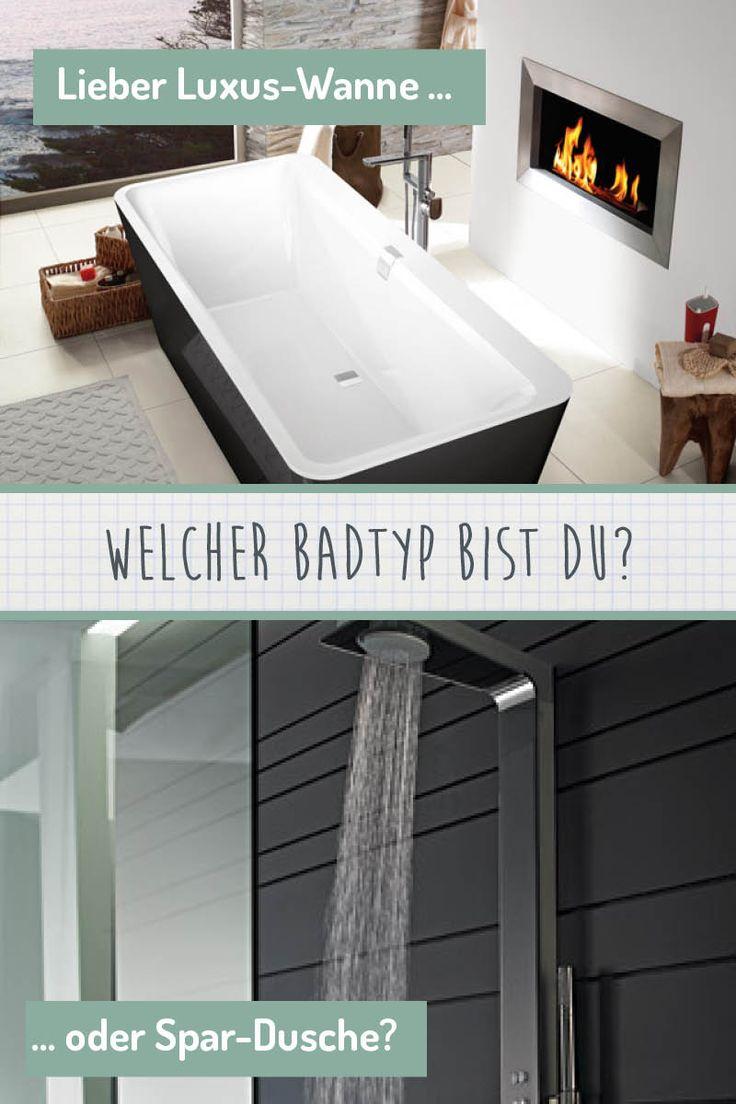 Welcher Bad-Typ bist du?  Genießt du lieber in der Luxus-Badewanne?  Oder gehst du lieber schnell duschen?  Wir haben für jeden Badtypen die richtige Lösung!  Bildmaterial: (c) Villeroy & Boch Fliesen, Hansa