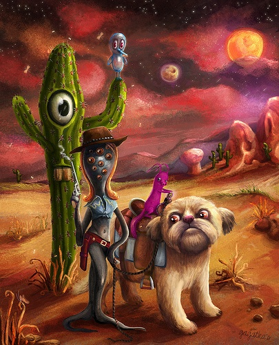 #illustration #cowgirl #cowboy #monster #photoshop #dog #wacom #digital_painting Slimy Cowgirl & gang in space  Mr Cactus felt weierd when baloon sat on his hand.  --What if he will blow up?? - he thought and felt even more stressed.  U can see some close-ups at my page: www.gagatka.pl