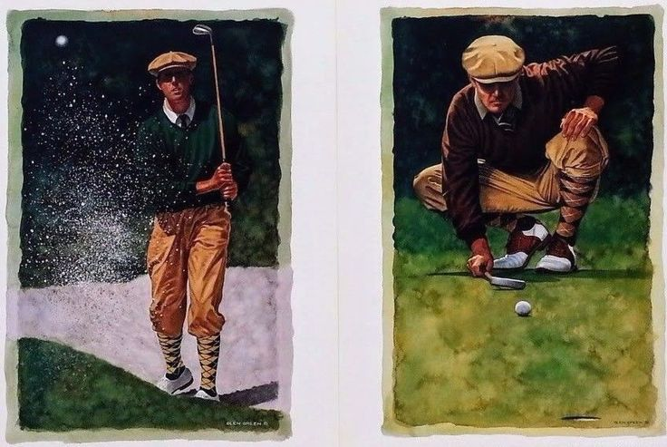 Set of 2~UNFRAMED Golf Art Prints~Sand Wedge & The Line by Glen Green~Card Stock #GlenGreen #Frame&PrintWarehouseVT