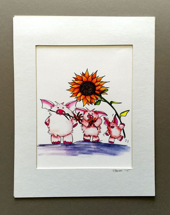 Flower Power print, children bedroom decor, pig print, matted 11x14 print, giclee