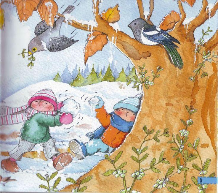 Praatplaat voor kleuters, vogels in de winter.