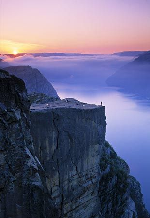 Pulpit Rock, Norway. I actually climbed this! Amazing view!!