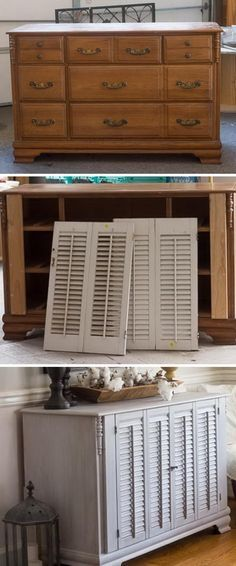 Old Dresser Makeover with Shutters.