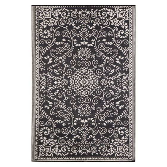 Details About NEW FAB Rugs Murano Plastic Outdoor Rug In Black, Green