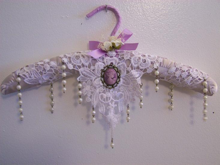 Lavender Rain of Pearls-victorian hanger, padded hanger, satin hanger, home decor, lavender hanger