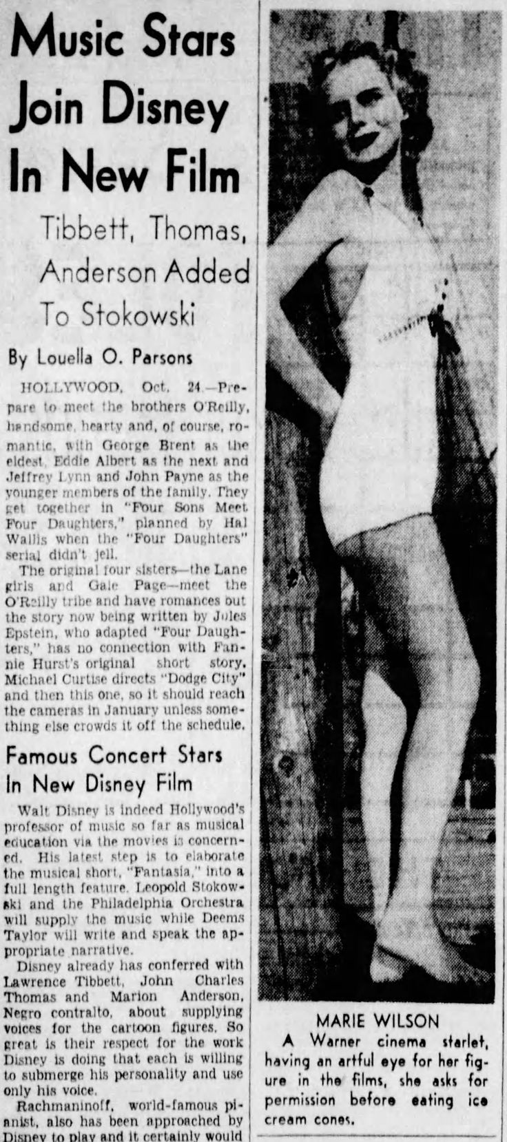 Oct 25, 1938, Hollywood, California.  Marie Wilson, a Warner Bros. colleague of Patricia Ellis, looking peculiarly thin.  For years self-starvation by young screen starlets due to studio pressure was kept a dark secret in the movie industry.  Most young actresses followed some sort of diet to maintain their girlish figures; some unfortunately went to extremes.  Smoking also helped keep one's mind off food. (The Philadelphia Inquirer,  Oct 25, 1938, p.20).